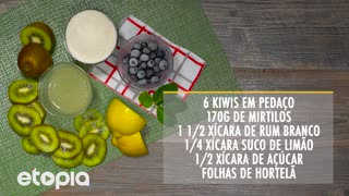 Mojito de kiwi e moras azuis. - Video