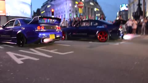 Two Skyline's Shooting Flames Fast & Furious Style