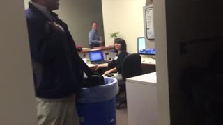 Man Shrieks At Gorilla Mask Office Prank - Video
