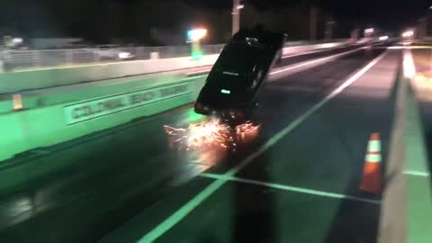 Drag Car Tries to Take Flight