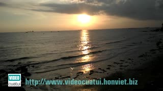 Sunset on Bai Dau beach in Vung Tau city - South Vietnam  - Video