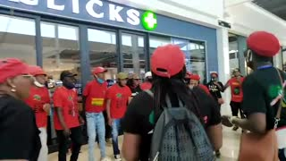 EFF supporters picket outside Menylyn Mall Clicks
