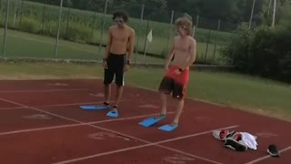 Hilarious Flipper Race of Two Ridiculous Boys - Video