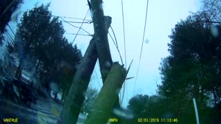 Telephone Pole Shattered by Sliding Truck