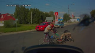 Bicycles Crash Crossing an Intersection