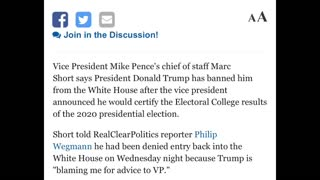 Trump BANS Pence Chief Of Staff, Marc Short, From White House !