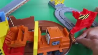 children playing with working train.  - Video