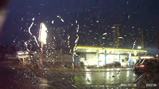 Lightning Strike hits gas station in Germany