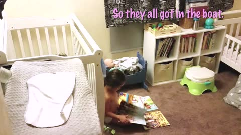 This little girl makes up a story for her baby brother, and it's hilarious