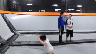 Flexible triple backflip trampoline