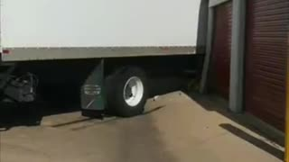 Truck Tears Apart Storage Lockers