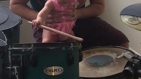 6 Month Old Playing The Drums