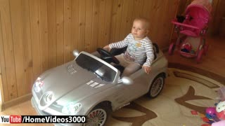 Baby girl dances to Mercedes toy car music