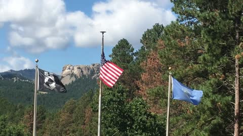 MT Rushmore National Memorial view from Mountain View Cemetery off Trail 363 Black Hills National Forest South Dakota