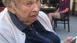 Sweet great-grandmother adorable struggles to say man's name