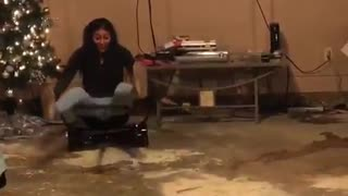 Woman Goes Straight Into The Wall After Trying The Hover Board For The First Time - Video