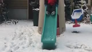 Collab copyright protection - boy red jacket green slide faceplant - Video