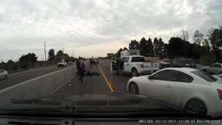 Motorcycle Merges into Median - Video