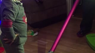 10 month old baby loves the vacuum cleaner! - Video