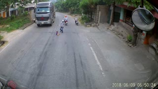 Baby Runs onto Road