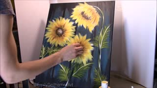 Time lapse captures beautiful sunflower painting - Video