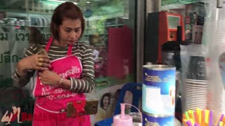 Cute Coffee Seller With Pet Squirrel