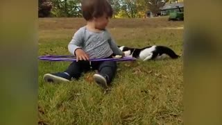 Beautiful kids and cats