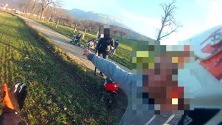 Man Pushes Motorcyclist Off Bike - Video