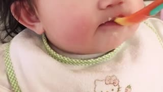 Cute baby sleeping why eating