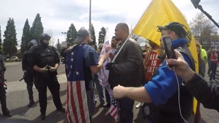 White Supremacist Jeremy Christian Kicked Out Of Pro Trump Rally In Portland Oregon - Video