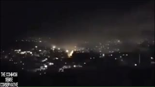 Syrian Man Records Anti Air Missiles In Damascus As Coalition Forces Attack Syria - Video