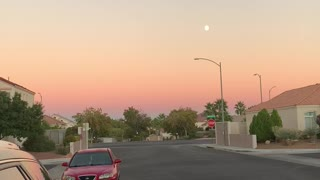 Vegas sunset with the moon
