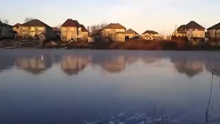 Rock Skipping Across A Frozen Lake Makes A Very Interesting Sound - Video