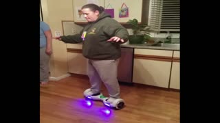 Woman Goes Round And Round On Hoverboard - Video