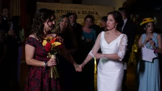 Surprise proposal during bouquet toss at wedding ceremony