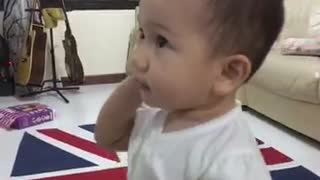 Baby's adorable one-sided phone conversation