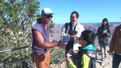 Interviewing people by Grand Canyon
