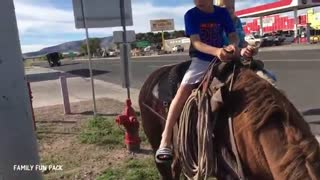 (VIDEO) Must Watch: Three Kids For The First Time Ride Horses! - Video