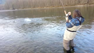Lady Catches the Fish of Her Life - Video