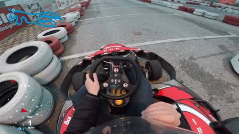 Beginner go-kart driver crashes at full speed into tire barrier!