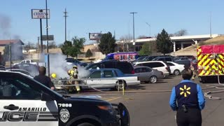 Burning Car in Parking Lot - Video