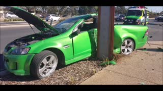 Australian Driver Loses Control and Crashes into Pole