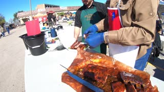 BBQ Rib Cutting in Austin BBQ Competition