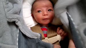 Adorable newborn baby makes silly faces - Video