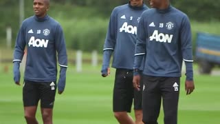 Zlatan Ibrahimović walking out for his first Manchester United training session