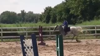 Girl in purple rides horse falls forward