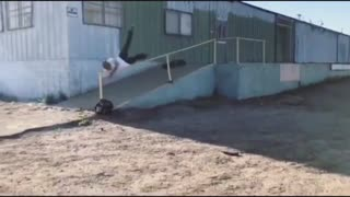 Collab copyright protection - run down buildings white shirt skate - Video