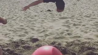 Guy Jumps On Yoga Ball, Fails Hilariously