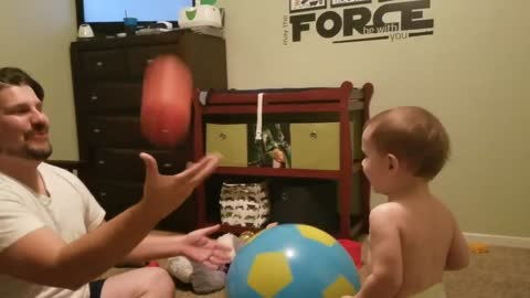 Super dad performs for laughing son