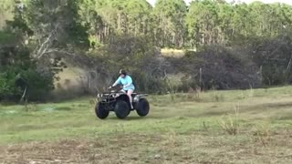 Helmet girl accidentally drives four wheeler into green bush - Video